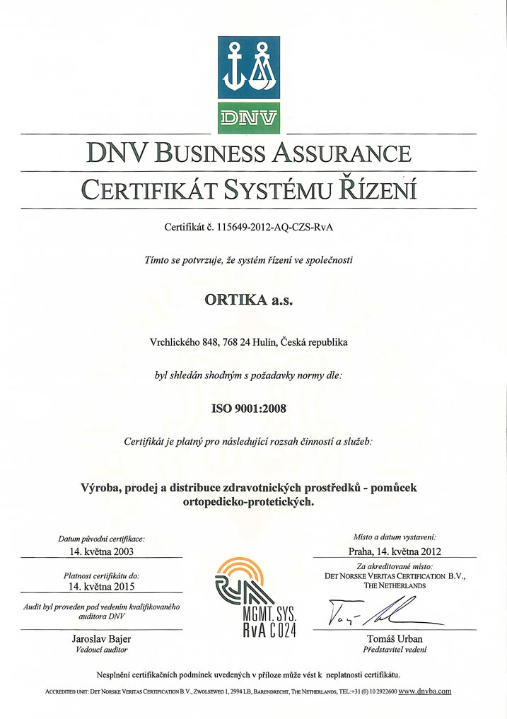 Ortika - Certifikace ISO 9001:2008